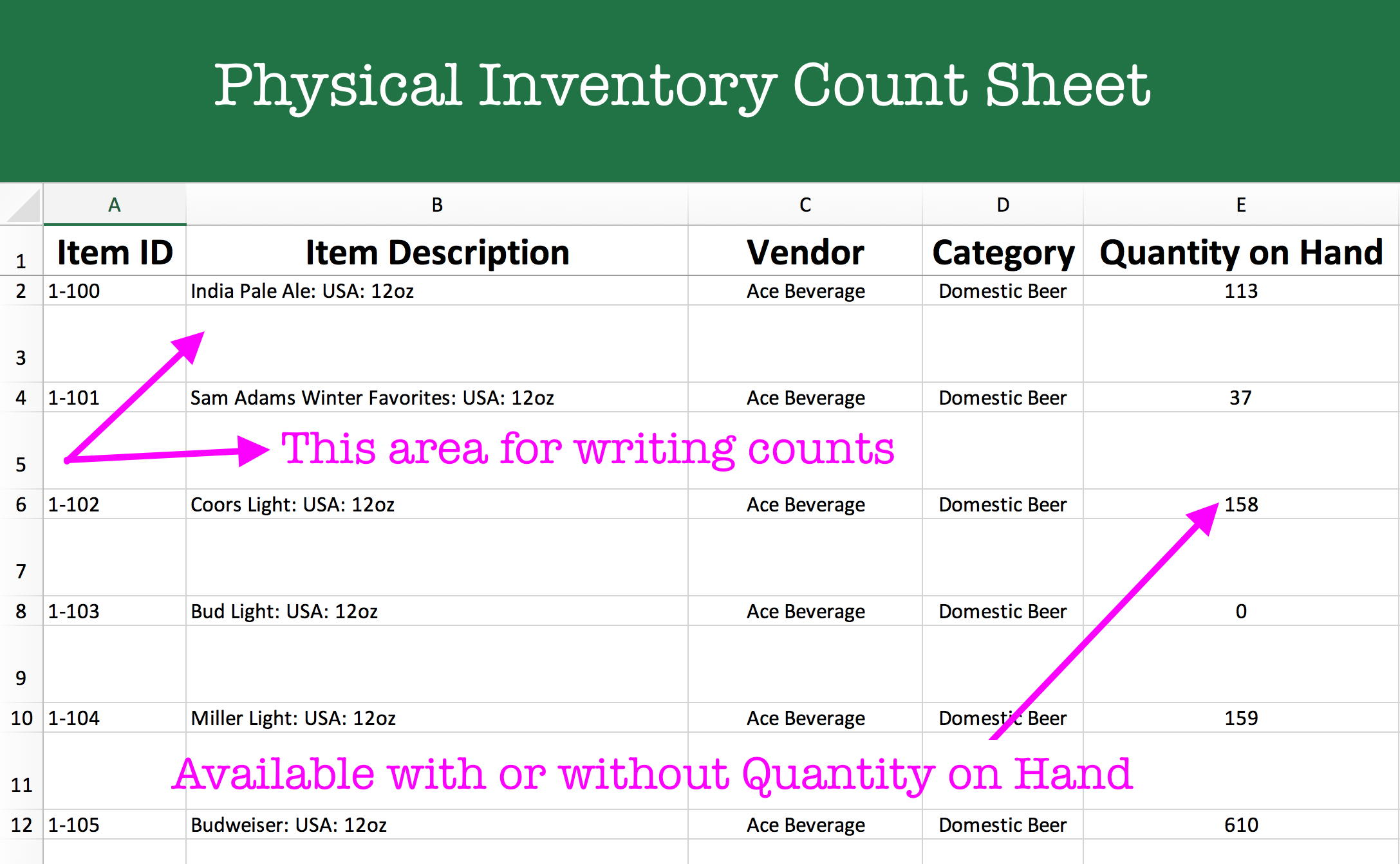 Inventory Control Spreadsheet - Physical Inventory Count Worksheet