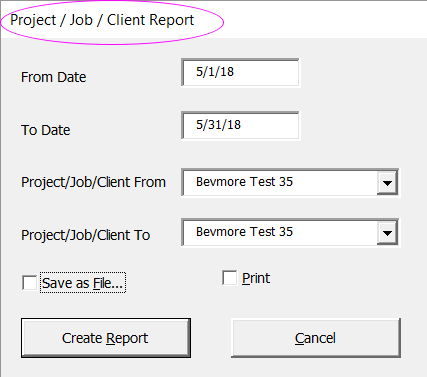Dialogue box for Project Job Cost Report